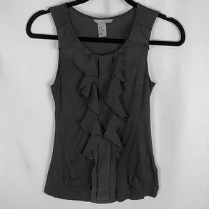 H&M Womens Gray sleeveless ruffled shirt blouse xs